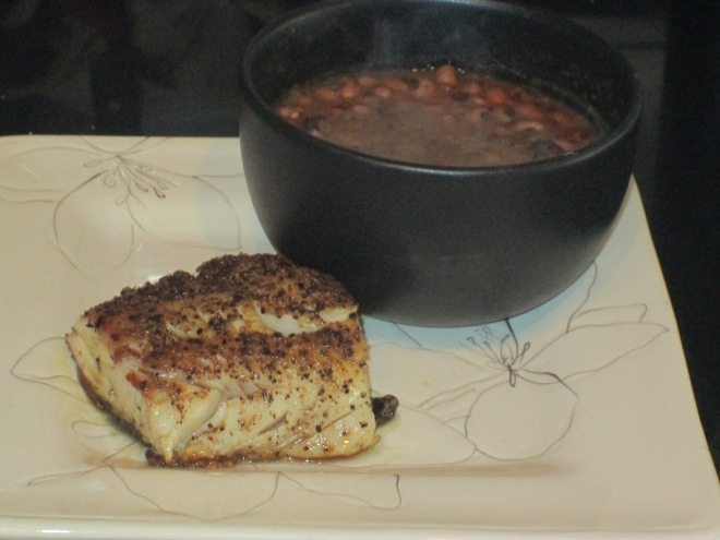 Wide Alaskan Black Cod with Black Eyed Peas